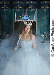 snow queen and throne with fog