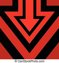 Down Arrow Background Red Black Vector Illustration