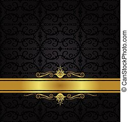 Seamless black floral wallpaper and gold ribbon - Seamless...
