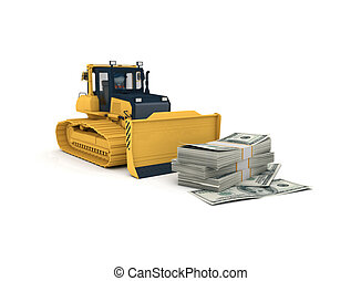 3d rendered yellow bulldozer - Yellow bulldozer 3d...