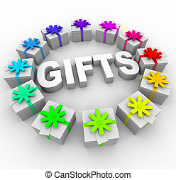 Gifts - Presents in Circle Around Word - The word Gifts...