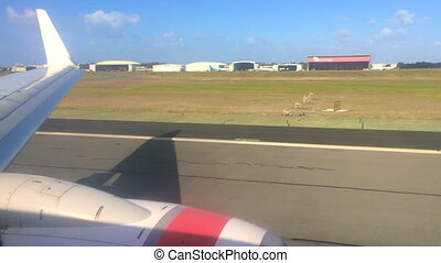 Airliner plane runs on runway - Airliner plane runs on...