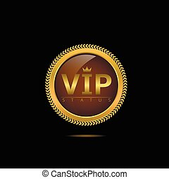 Vip status label Luxury Golden sign, Vector illustration
