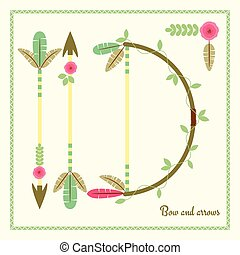 Bow and arrows flat poster, vector tribal background