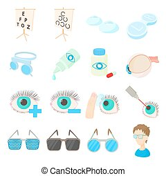 Vision correction icons set, cartoon style - Vision...