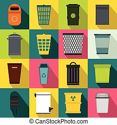 Trash can icons set, flat style - Trash can icons set in...