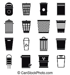Trash can icons set, simple style - Trash can icons set in...