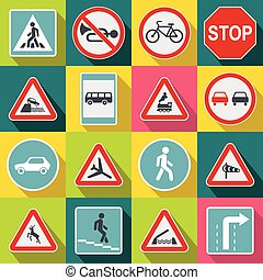 Road Sign Set icons, flat style - Road Sign Set icons in...
