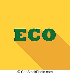 Eco icon, flat style - Eco icon in flat style with long...