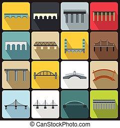 Bridge set icons, flat style - Bridge set icons in flat...