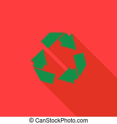 Recycle simbol icon, flat style - Recycle simbol icon in...
