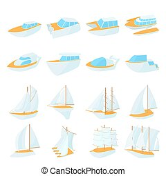 Yacht icons set, cartoon style - Yacht icons set in cartoon...