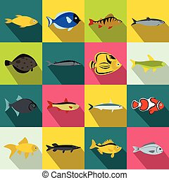 Fish icons set, flat style - Fish icons set in flat style...