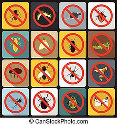 No insect sign icons set, flat style - No insect sign icons...