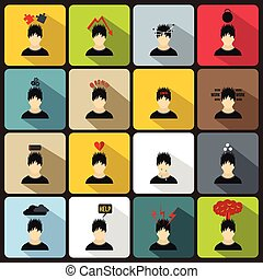 Stress icons set in flat style - Stress icons in flat style...