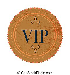 Brown VIP label label, vintage style - Brown VIP label icon...