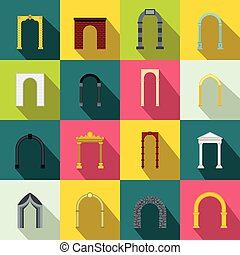 Arch set icons, flat style - Arch set icons in flat style...
