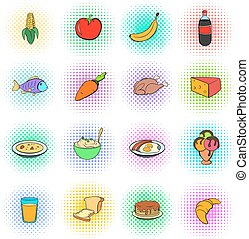 Food icons set, pop-art style - Food icons set in pop-art...