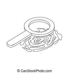 Fingerprint and magnifying glass icon in isometric 3d style...