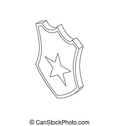 Police badge icon in isometric 3d style on a white...