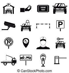 Parking set icons, simple style
