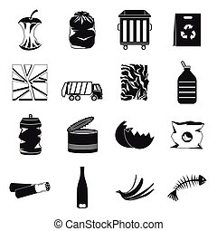 Waste and garbage icons set, black style - Waste and garbage...
