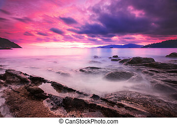 colorful sky in sunset on the islan