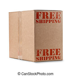 free shipping - carton box with free shipping written in red...