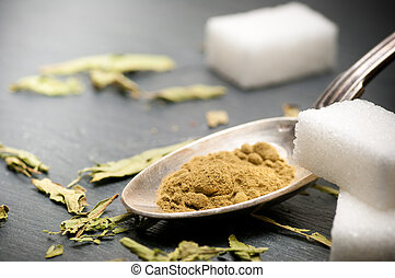 Stevia, rebaudiana, bertoni, polvo