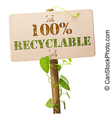 eco friendly green sign - eco friendly sign message on a...