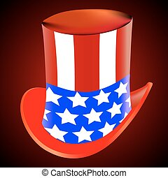 American hat on a red background, vector art illustration