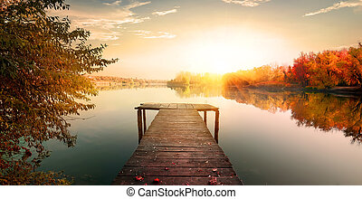Red autumn and fishing pier - Red autumn and wooden fishing...