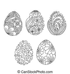 Collection easter egg with floral element doodle or henna style. Decorative element.