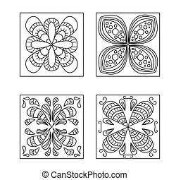 Collection abstract pattern doodle style Decorative element...