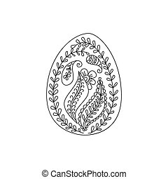 Ornate easter egg with floral element doodle or henna style. Decorative element.