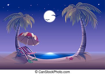 Night beach Sea, moon, palm trees and sand Romantic summer...