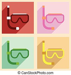 Flat with shadow concept and mobile application scuba mask