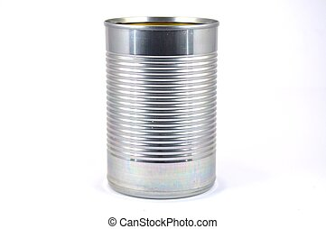 Limp with can of food in standing stainless steel. -...