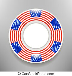 Ceramic Plate with American Flag Print Isolated on Grey...