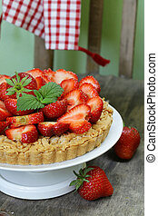 pie shortcake dough with fresh berries strawberries