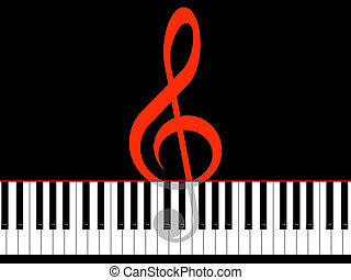 Music - Treble clef and keys of the piano