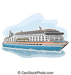 Cruise ferry - Vector illustration of logo for cruise ferry,...