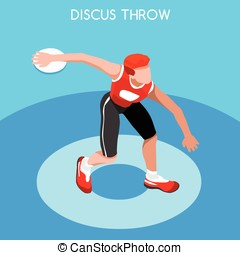 Athletics Discus Throw Summer Games 3D Vector Illustration -...