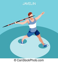Athletics Javelin Summer Games 3D Vector Illustration -...