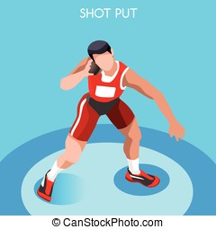 Athletics Shot Put Summer Games 3D Vector Illustration -...