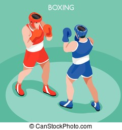 Boxing Summer Games 3D Isometric Vector Illustration -...