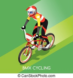 Cycling BMX  Summer Games 3D Isometric Vector Illustration
