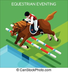 Equestrian Eventing Summer Games 3D Vector Illustration -...