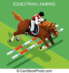 Equestrian Jumping Summer Games 3D Vector Illustration -...