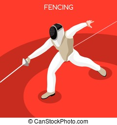 Fencing Summer Games 3D Isometric Vector Illustration -...